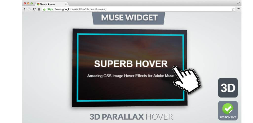 3D Parallax Image Hover Effect Muse Widget - Hero Image