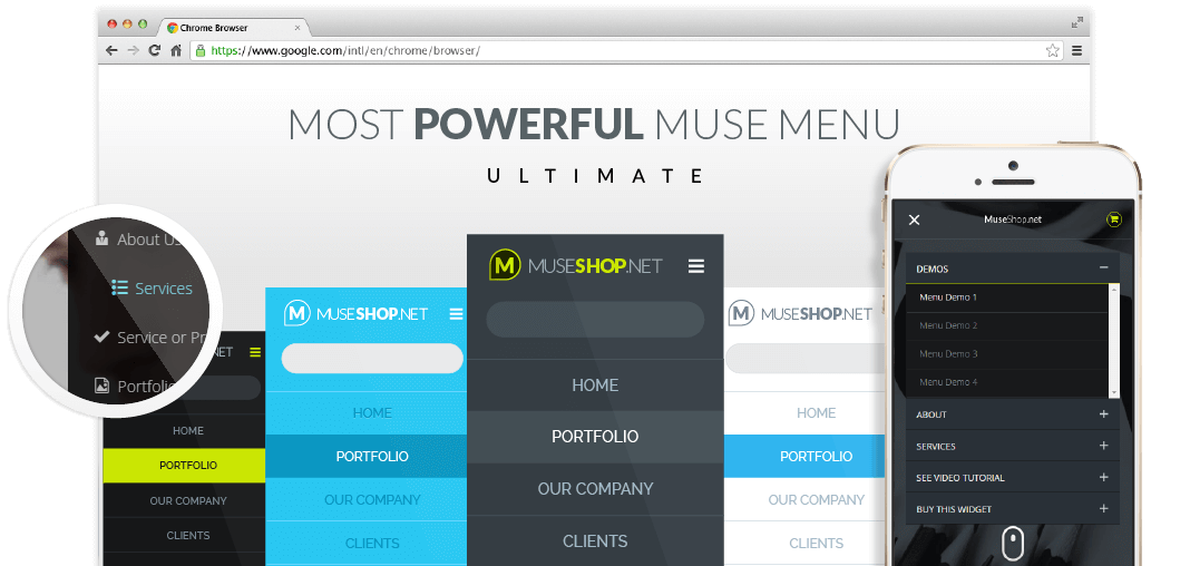 Ultimate Muse Responsive Menu Widget Hero Image