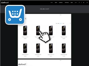 eCommerce Muse Template - Darkwell has Ecwid Ecommerce Widget and Theme Included