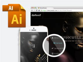 Darkwell Muse theme comes with 3 AI Mockups for Adobe Illustrator