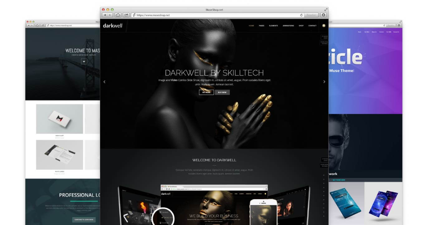 Museshop elite adobe muse themes widgets tuts more quality over quantity our themes will blow your clients away baditri Choice Image