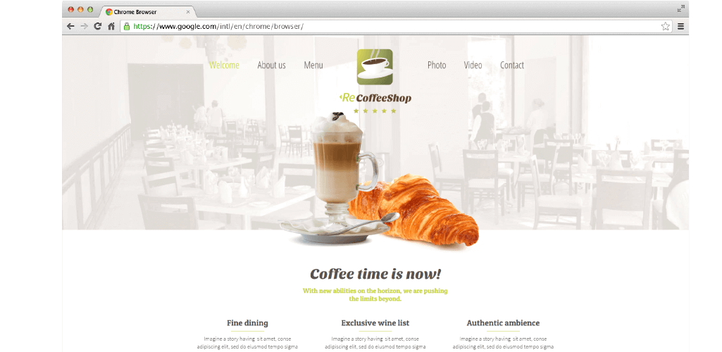 ReCoffeeShop Adobe Muse Theme - Hero Image