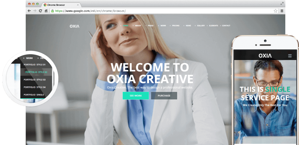 Oxia Adobe Muse Theme - Hero Image