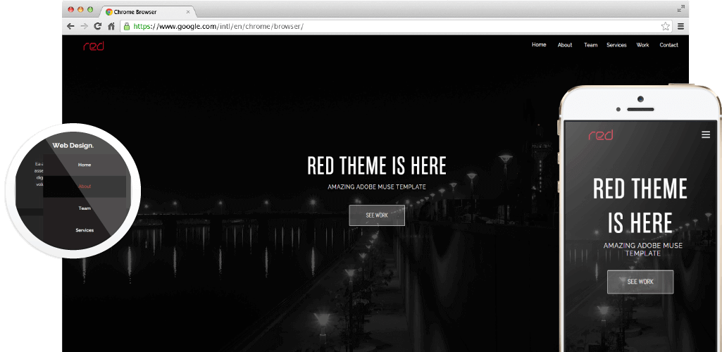 Red Adobe Muse Theme - Hero Image