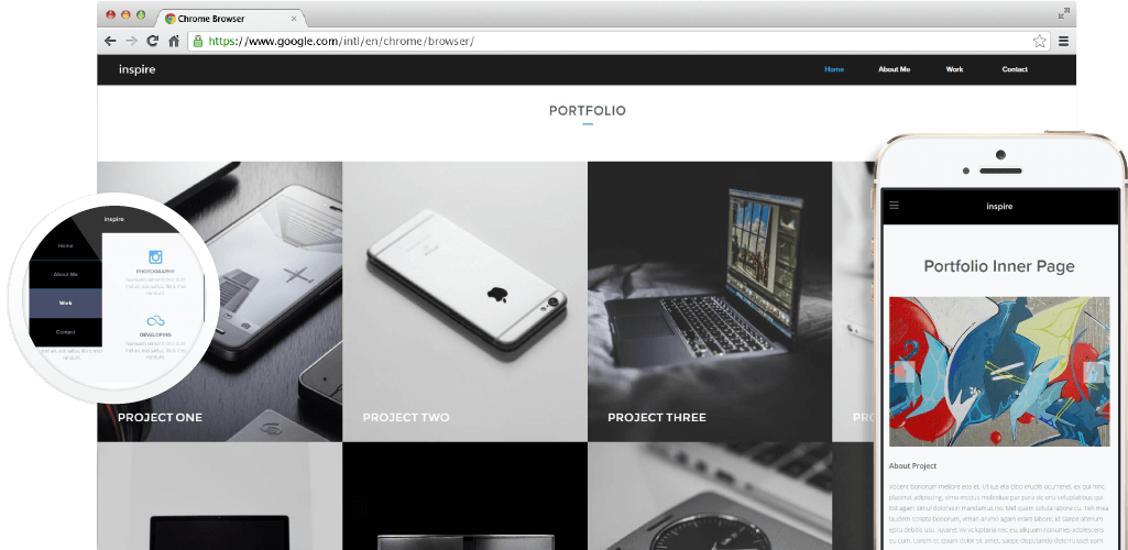 Inspire Creative Portfolio Adobe Muse Template by MuseShop.net - Hero Image
