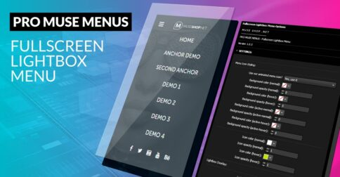 Fullscreen Lightbox Muse Menu Widget - Product Image