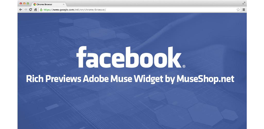 Facebook Rich Previews Adobe Muse Widget by MuseShop.net - Hero Image