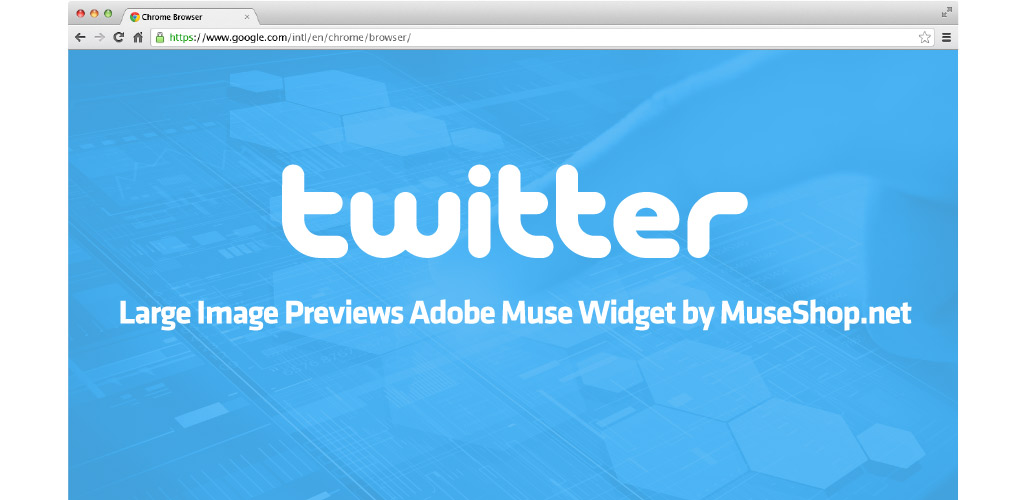 Twitter large Image Previews Adobe Muse Widget by MuseShop.net - Hero Image