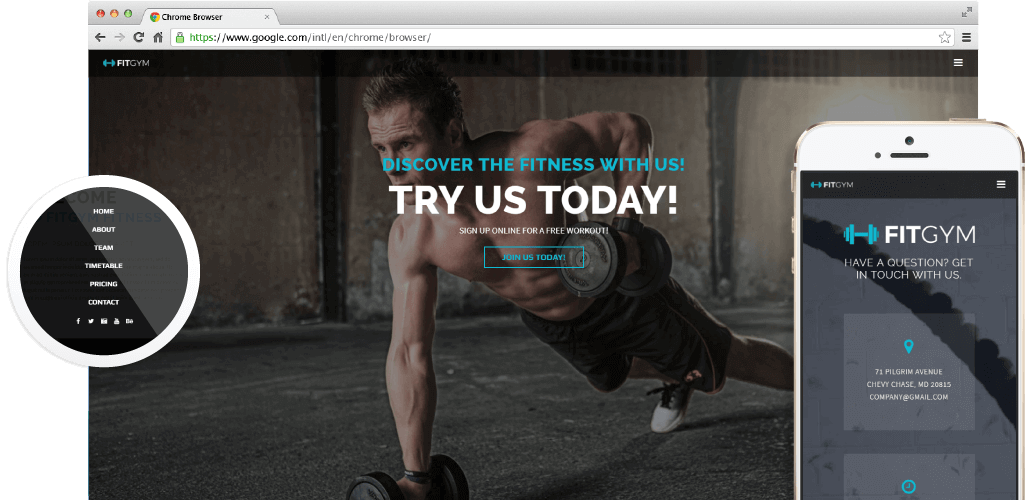 Fit Gym Adobe Muse Template by MuseShop.net - Hero Image
