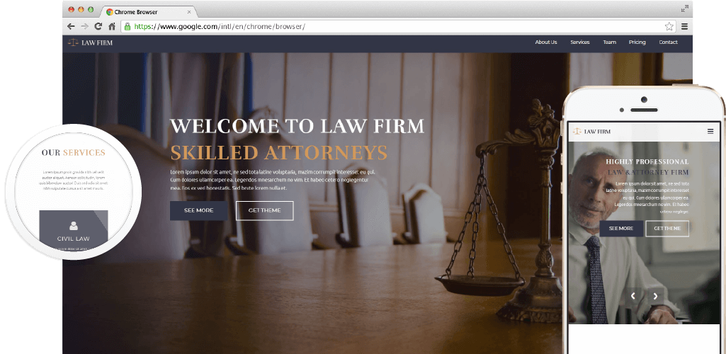 Law Firm Adobe Muse theme by MuseShop.net - Product Hero Image